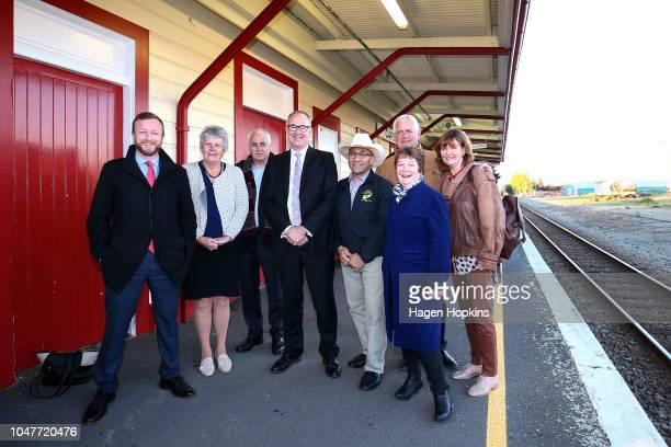 L to R MP Kieran McAnulty Masterton Mayor Lyn Patterson Acting CE of Kiwirail David Gordon Transport Minister Phil Twyford Minister Ron Mark...