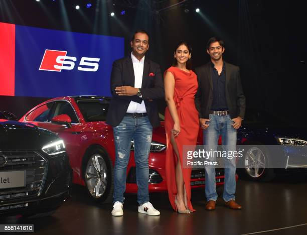 L to R Mr Rahil Ansari Bollywood actress Ileana D'Cruz and Mr Aditya Patel present at the launch of new Audi A5 series in India at hotel Sofitel...