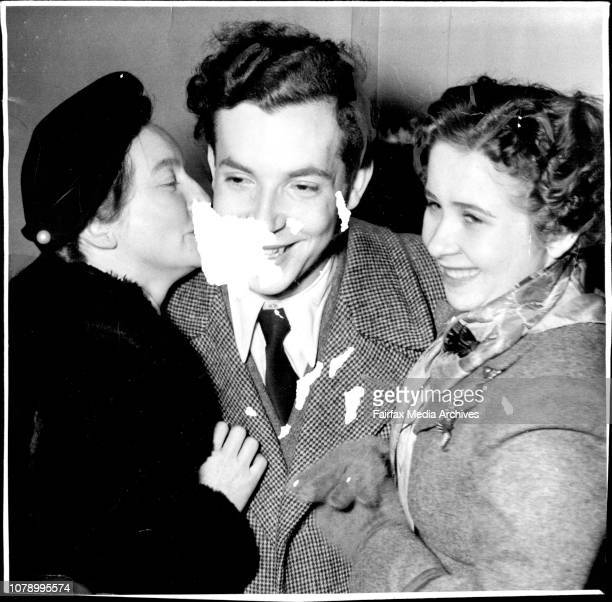 To R. - Mrs. Maria Kadover to Paul Badura-Skoda and his cousin Anna Kadover welcome Paul at Mascot Airport last night when he arrived by B.C.P.A....