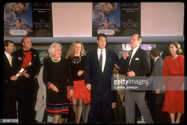 L to R Mrs VPelect Dan Quayle Preselect Bush Dan Aykroyd Kim Basinger Barbara hamming it up at DC premiere of My Stepmother is an Alien