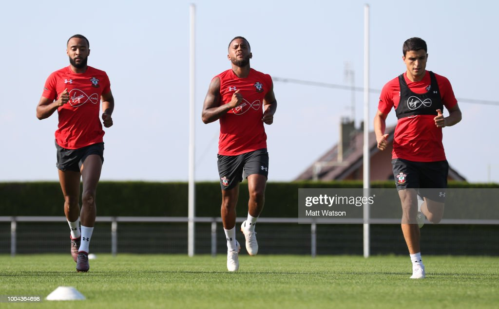L to R, Nathan Redmond, Ryan Bertrand amd Mohamed Elyounoussi as Southampton FC take part in their first day of their pre-season training camp, on July 23, 2018 in Evian-les-Bains, France.