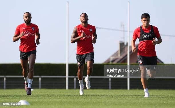 L to R Nathan Redmond Ryan Bertrand amd Mohamed Elyounoussi as Southampton FC take part in their first day of their preseason training camp on July...