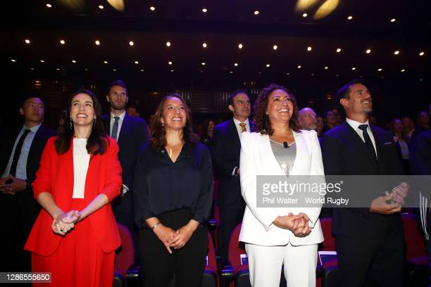 To R, New Zealand Prime Minister, Jacinda Ardern, Former Black Fern, New Zealand Rugby Board Member and World Rugby Hall of Fame Inductee, Farah...