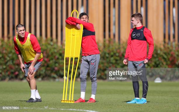 L to R Oriol Romeu Sofiane Boufal and Jake Hesketh during a Southampton FC training session at the Staplewood Campus on March 8 2018 in Southampton...