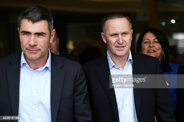 L to R Otaki candidate and Minister of Primary Industries Nathan Guy Prime Minister John Key and Education Minister Hekia Parata look on during a...