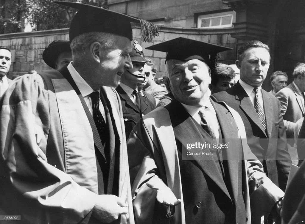 L to r Professor Ostrogorsky and film star, Charlie Chaplin (1899 - 1977) after receiving honorary doctorates at Oxford Town Hall.