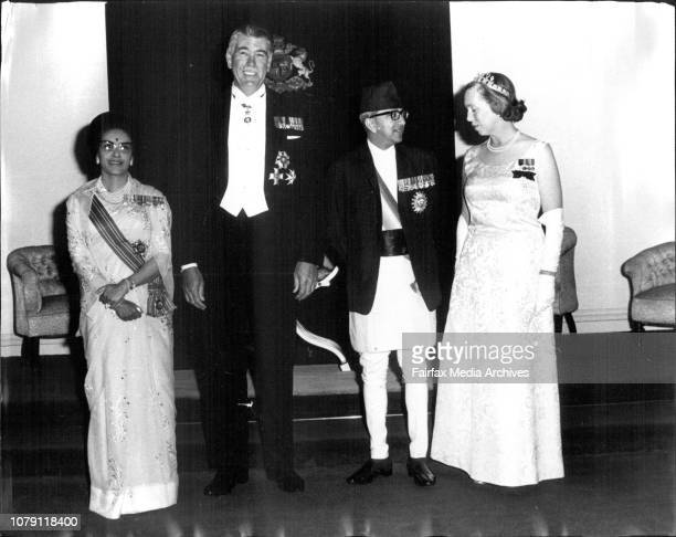 L to R Queen of Nepal Sir Roden Cutler King of Nepal and Lady CutlerKing and Queen of Nepal at Government House April 28 1971