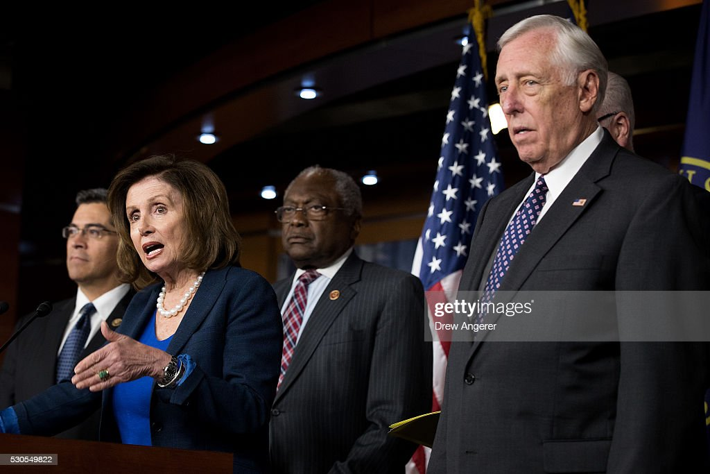 Rep. Nancy Pelosi (D-CA) And Democratic House Leadership Hold News Conference On Trump's Rhetoric : News Photo