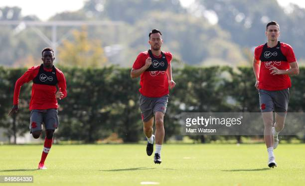 L to R Richard Bakary Maya Yoshida and Florin Gardos during a Southampton FC training session at the Staplewood Campus on September 19 2017 in...