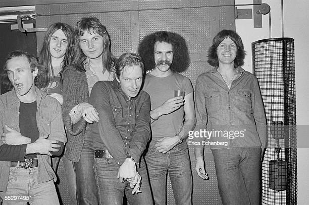 Rick Worsnop, Paul Chapman , Tony Smith, Dixie Lee, Kenny Driscoll, Pete Hurley of Lone Star pose for a group portrait backstage in St Albans, United...