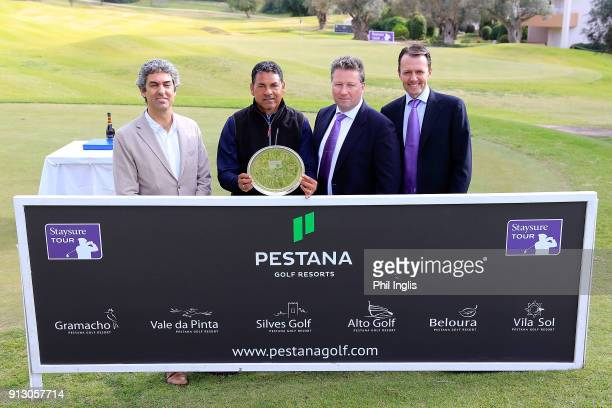 L to R Rui Gago of Pestana Rafael Gomez of Argentina Julian Kearney CEO Staysure David McLaren Head of Staysure Tour after the final round of the...