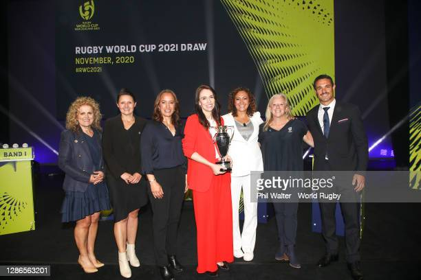 To R, RWC 2021 Organising Committee Chair, Dame Julie Christie, Rugby World Cup 2021 Tournament Director, Michelle Hooper, Former Black Fern, New...