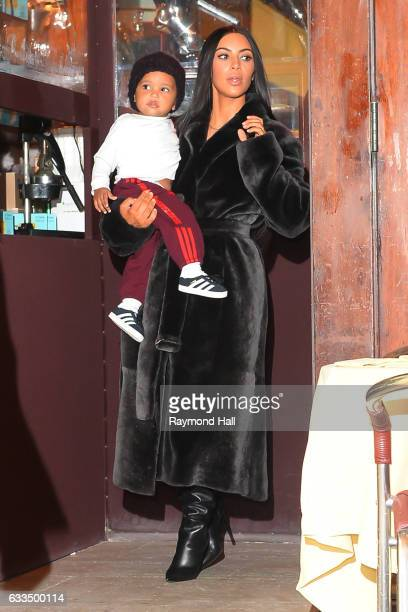 L to R Saint West television personality Kim Kardashian West are seen in Soho on February 1 2017 in New York City