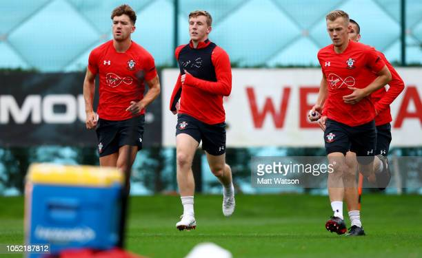 L to R Sam Gallagher Matt Targett and James WardProwse during a Southampton FC training session at the Staplewood Campus on October 15 2018 in...