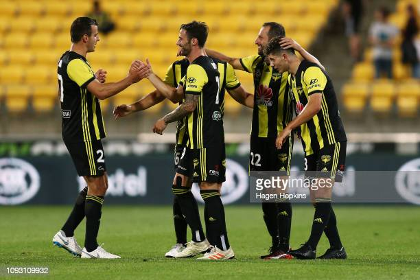 L to R Steven Taylor Tom Doyle Dylan Fox Andrew Durante and Liberato Cacace of the Phoenix celebrate the win during the round 13 ALeague match...