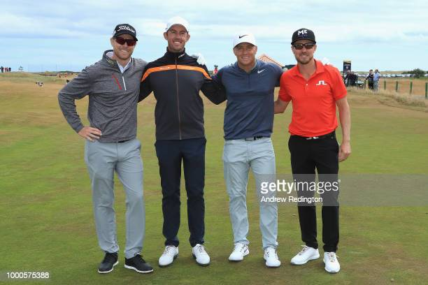 L to R Swedish golfers Jens Dantorp Alexander Bjork Alex Noren and Jonas Blixt pose on the seventh hole during previews to the 147th Open...