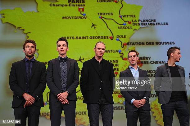 L to R Thibaut Pinot Romain Bardet Chris Froome Richie Porte and Julian Alaphilippe line up in front of the 2017 race route map during Le Tour de...