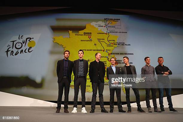 L to R Thibaut Pinot Romain Bardet Chris Froome Richie Porte Julian Alaphilippe Adam Yates and Thomas Voeckler line up in front of the 2017 race...