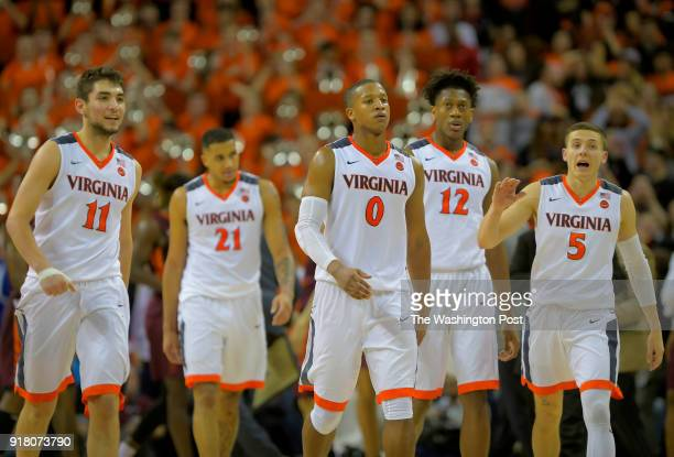 L to R Virginia Cavaliers' Ty Jerome Isaiah Wilkins Devon Hall De'Andre Hunter and Kyle Guy during the Virginia Tech Hookies defeat of the Virginia...