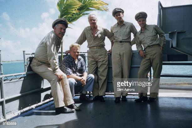 L to r Ward Bond as CPO Dawdy James Cagney as the Captain William Powell as Doc Henry Fonda as Lt Doug Roberts and Jack Lemmon as Ensign Frank Pulver...