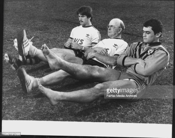 L to R Wayne Innes Bob Burford and Paul O'Neill at Trai Ning They are in Bob's Under 23 Team June 18 1980