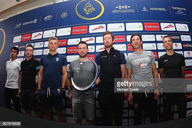 To R: Yousif Mirza, Elia Viviani, Marcel Kittel, Mark Cavendish, Sir Bradley Wiggins, Fabian Cancellara and Philippe Gilbert pose during a press...