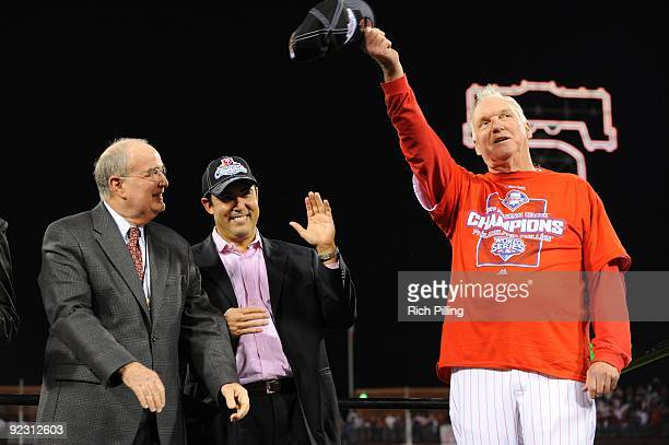 L to RDave Montgomery Principal Owner Ruben Amaro General Manager and Charlie Manuel manager of the Philadelphia Phillies are seen during Game Five...