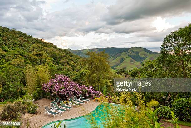 To relax looking the view of Mantiqueira Mountains at sunset Ambiental preservation area São Francisco Xavier São Paulo state Brazil Springtime dec...