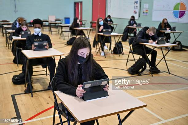 To S3 pupils attend Rosshall Academy as all pupils in Scotland return for some class time ahead of the Easter Holidays on March 15, 2021 in Glasgow,...