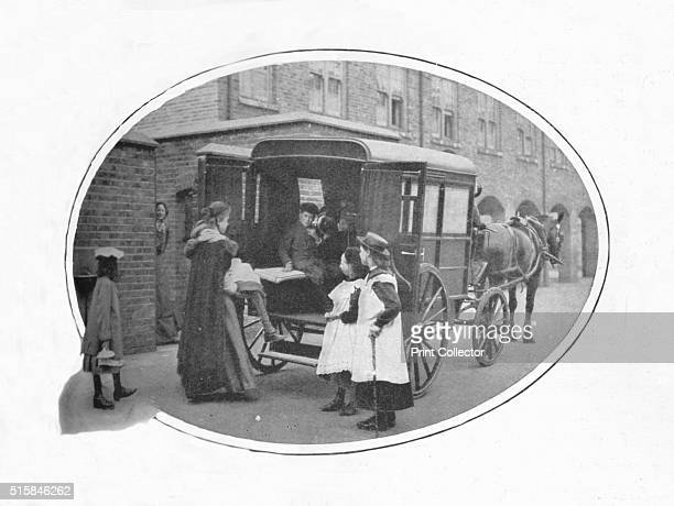 To school by ambulance London circa 1903 From Living London Vol III by George R Sims [Cassell and Company Limited London Paris New York Melbourne...