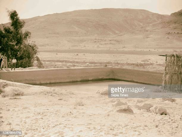 To Sinai by car Ain Gedeirat. The large pool. 1920, Middle East, Israel and/or Palestine.