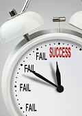 To success through failures concept, long way to success, clock with inscription