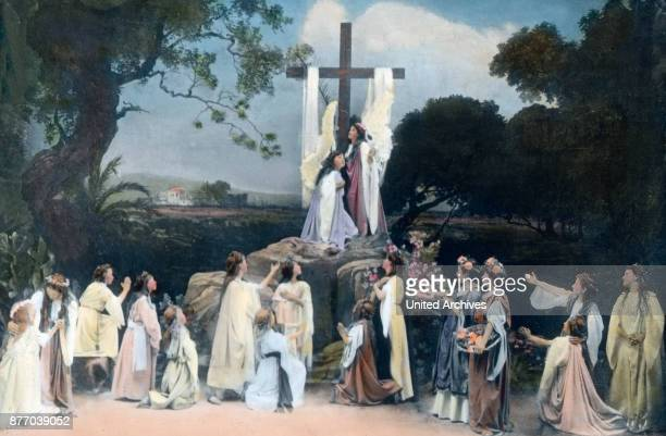 To the Saviour unites love mourning him to pursue on the road of suffering Until Equip the Grabesruh The picture shows the worship on the sign of the...