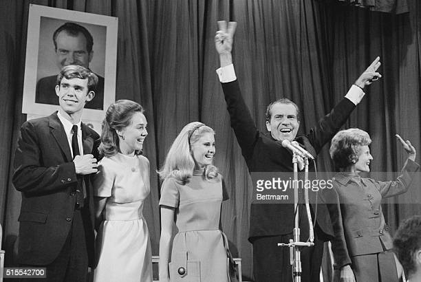 To the Victor New York Presidentelect Richard M Nixon strikes a victorious pose after defeating his Democratic opponent Vice President Hubert...