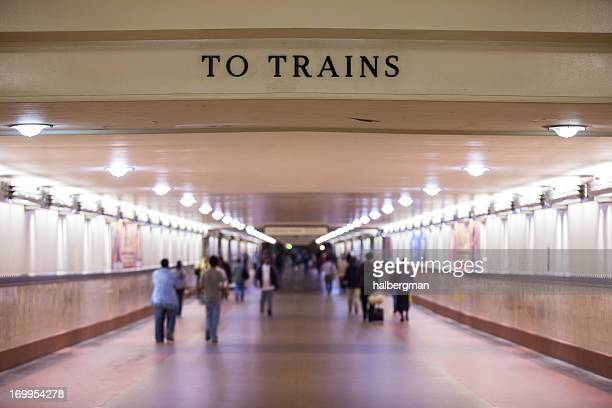to trains corridor at los angeles union station - union station los angeles stock photos and pictures