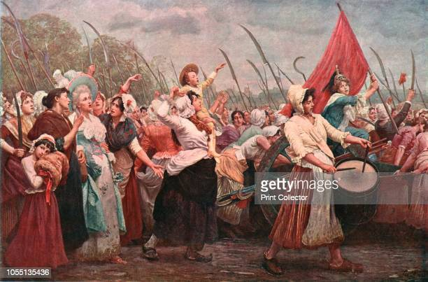 To Versailles, an Incident in the French Revolution', , . After a painting in the Museums Sheffield collection. French women weilding scythes and...