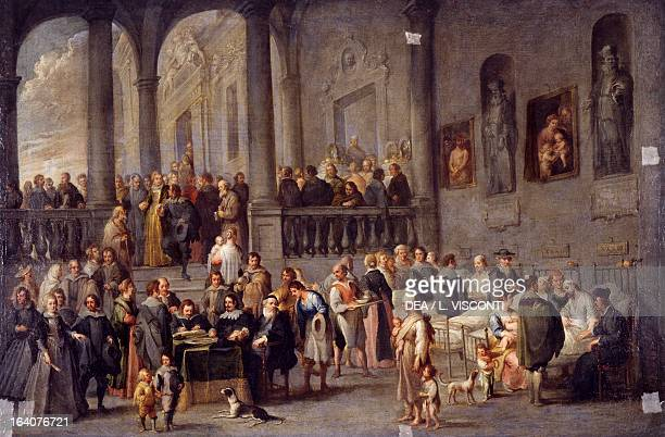 To visit the sick cycle from the Seven Works of Mercy after 1625 by Cornelis de Wael oil on canvas 100x150 cm Genoa Galleria Di Palazzo Bianco
