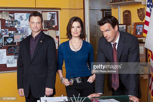 "To What End?"" -- Det. Mac Taylor from left, Det. Josephine ""Jo"" Danville and her ex-husband FBI Agent Russ Josephson on CSI:NY, scheduled to air..."