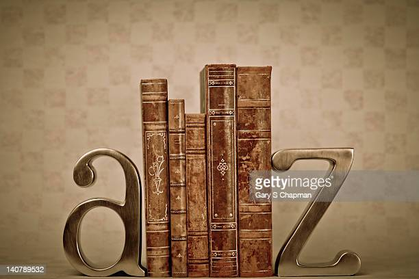 A to Z bookends with antique books