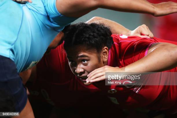 Toa Filimoehala of Queensland packs into a scrum during the Super W Grand Final match between the the New South Wales Women and the Queensland Women...