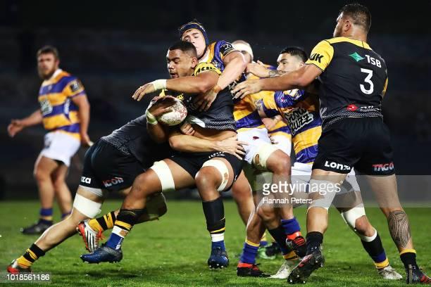 Toa Halafihi of Taranaki charges forward during the round one Mitre 10 Cup match between Bay of Plenty and Taranaki at Rotorua International Stadium...