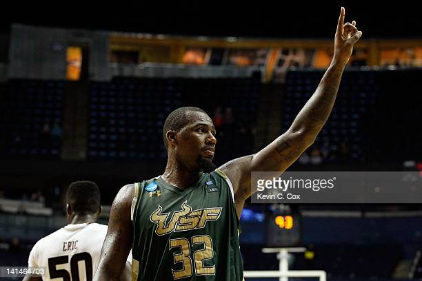Toarlyn Fitzpatrick of the South Florida Bulls celebrates after defeating the Temple Owls during the second round of the 2012 NCAA Men's Basketball...