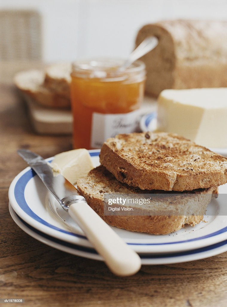 Toast, Butter and Fruit Jam : Stock Photo