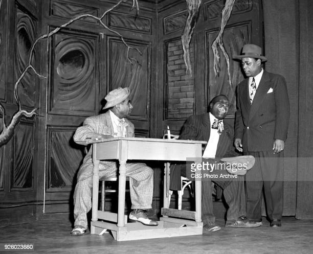 Toast of the Town broadcast on CBS television. New York, NY. Pictured is Dewey Pigmeat Markham and Company, a comedy troupe, doing a haunted house...
