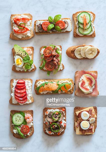 tartines - tapas stock photos and pictures