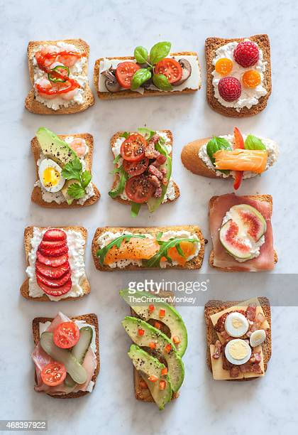 tartines - appetizer stock pictures, royalty-free photos & images