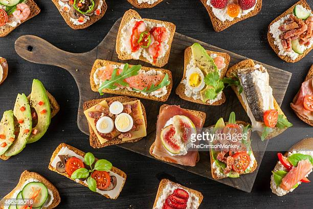 tartines - savory food stock pictures, royalty-free photos & images