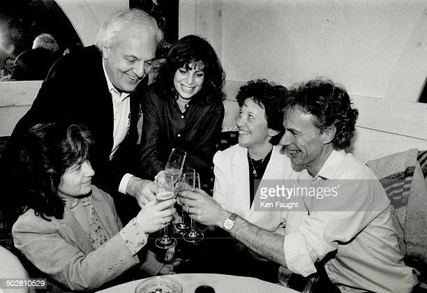 Toast to the jury Criminal lawyer Jack Pinkofsky flanked by lawyers JoAnne McLean left and Cindy Wasser celebrate with Julie and John Bowers last...