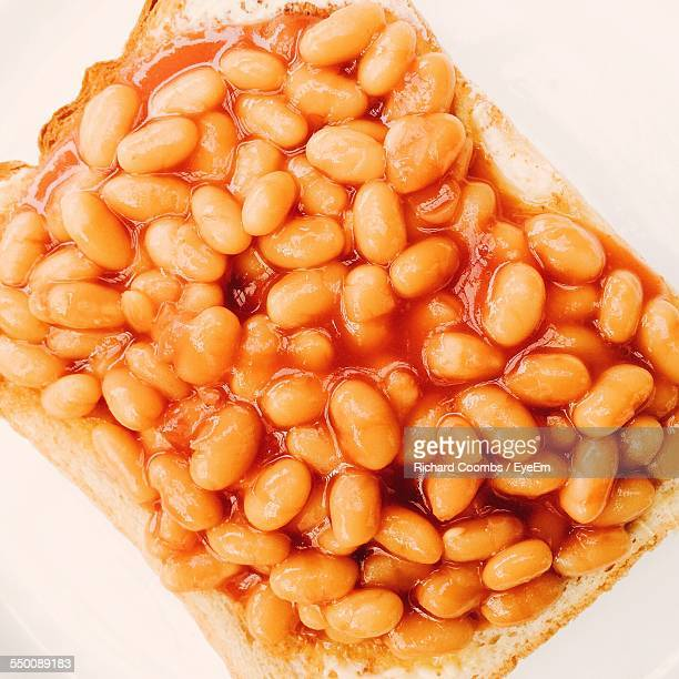 Toast With Baked Beans On White Background
