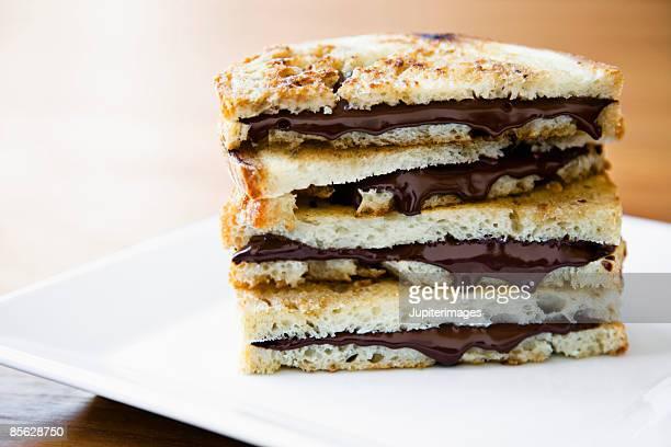 Toast with chocolate hazelnut spread